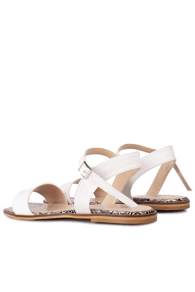 Fitbas 111602 961 Kadın Beyaz Büyük & Küçük Numara Sandalet