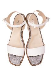Fitbas 111602 961 Kadın Beyaz Büyük & Küçük Numara Sandalet - Thumbnail