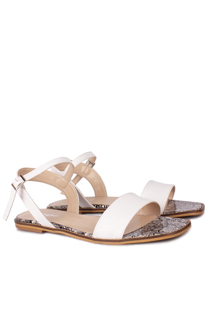 Loggalin 111602 961 Kadın Beyaz Büyük & Küçük Numara Sandalet