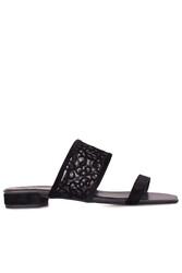 Fitbas 111620 008 Kadın Siyah Büyük & Küçük Numara Terlik - Thumbnail