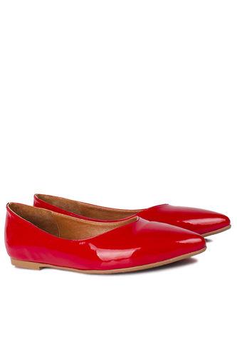Loggalin - Loggalin 112001 520 Kadın Kırmızı Rugan Büyük & Küçük Numara Babet (1)
