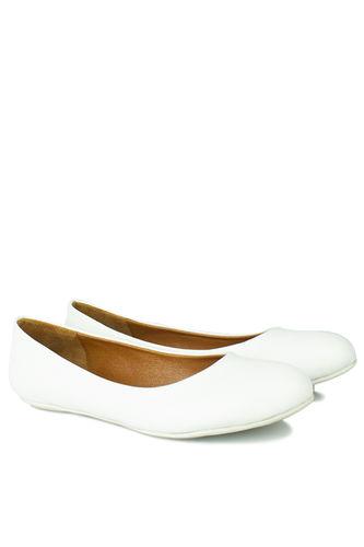 Fitbas - Fitbas 112008 468 Kadın Beyaz Deri Büyük & Küçük Numara Babet (1)
