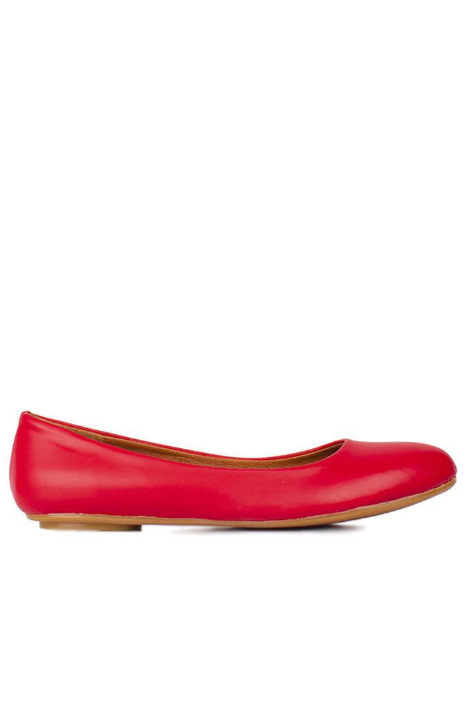 Fitbas 112008 524 Kadın Kırmızı Deri Büyük & Küçük Numara Babet