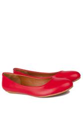 Fitbas 112008 524 Kadın Kırmızı Deri Büyük & Küçük Numara Babet - Thumbnail