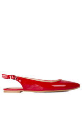 Fitbas 112028 520 Kadın Kırmızı Rugan Büyük & Küçük Numara Babet - Thumbnail