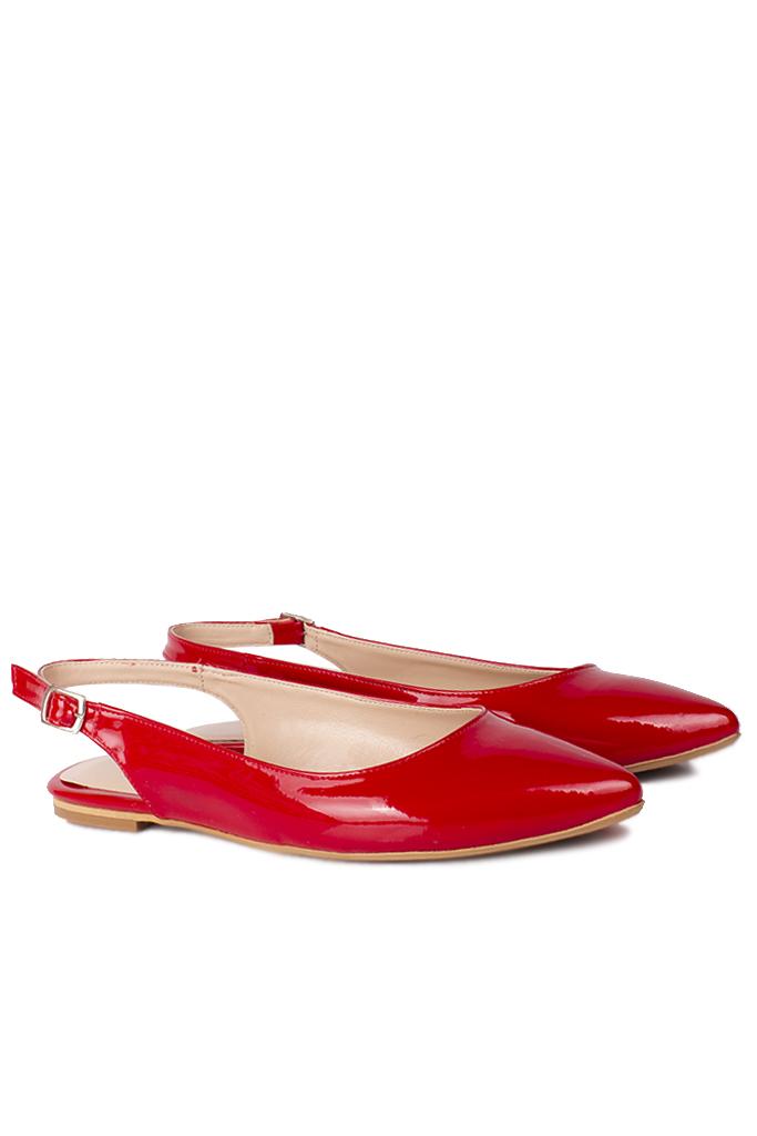 Fitbas 112028 520 Kadın Kırmızı Rugan Büyük & Küçük Numara Babet