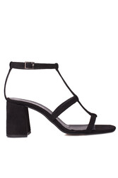 Fitbas 112151 008 Kadın Siyah Topuklu Büyük & Küçük Numara Sandalet - Thumbnail
