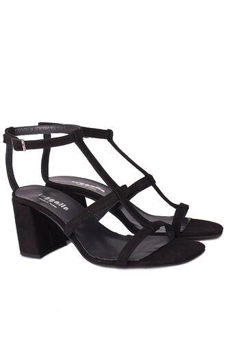 Fitbas - Fitbas 112151 008 Kadın Siyah Topuklu Büyük & Küçük Numara Sandalet (1)