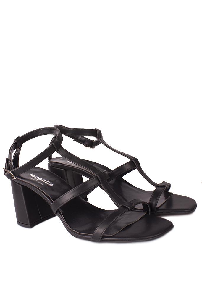 Fitbas 112151 014 Kadın Siyah Topuklu Büyük & Küçük Numara Sandalet
