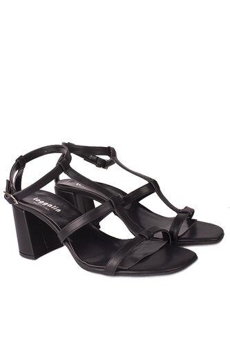 Fitbas - Fitbas 112151 014 Kadın Siyah Topuklu Büyük & Küçük Numara Sandalet (1)