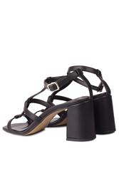 Fitbas 112151 014 Kadın Siyah Topuklu Büyük & Küçük Numara Sandalet - Thumbnail