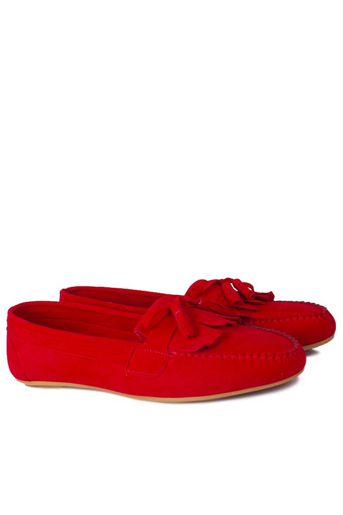 Fitbas 112903 527 Kadın Kırmızı Süet Büyük & Küçük Numara Babet