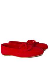 Fitbas 112903 527 Kadın Kırmızı Süet Büyük & Küçük Numara Babet - Thumbnail