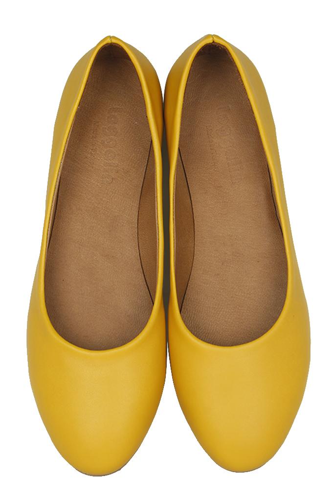 Fitbas 231008 0124 Kadın Sarı Deri Büyük & Küçük Numara Babet