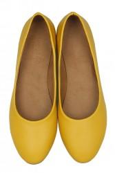 Fitbas 231008 0124 Kadın Sarı Deri Büyük & Küçük Numara Babet - Thumbnail