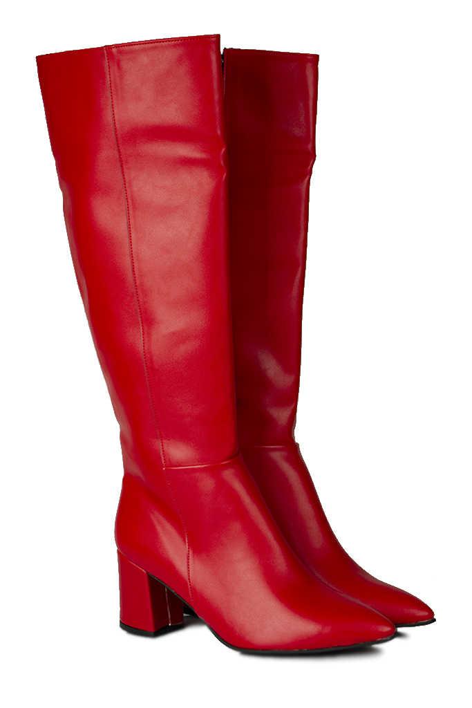 Fitbas 377901 524 Kadın Kırmızı Mat Büyük & Küçük Numara Çizme