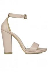 Fitbas 520011 719 Kadın Pudra Matt Topuklu Büyük & Küçük Numara Sandalet - Thumbnail