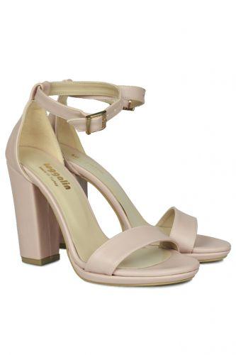 Fitbas - Fitbas 520011 719 Kadın Pudra Matt Topuklu Büyük & Küçük Numara Sandalet (1)