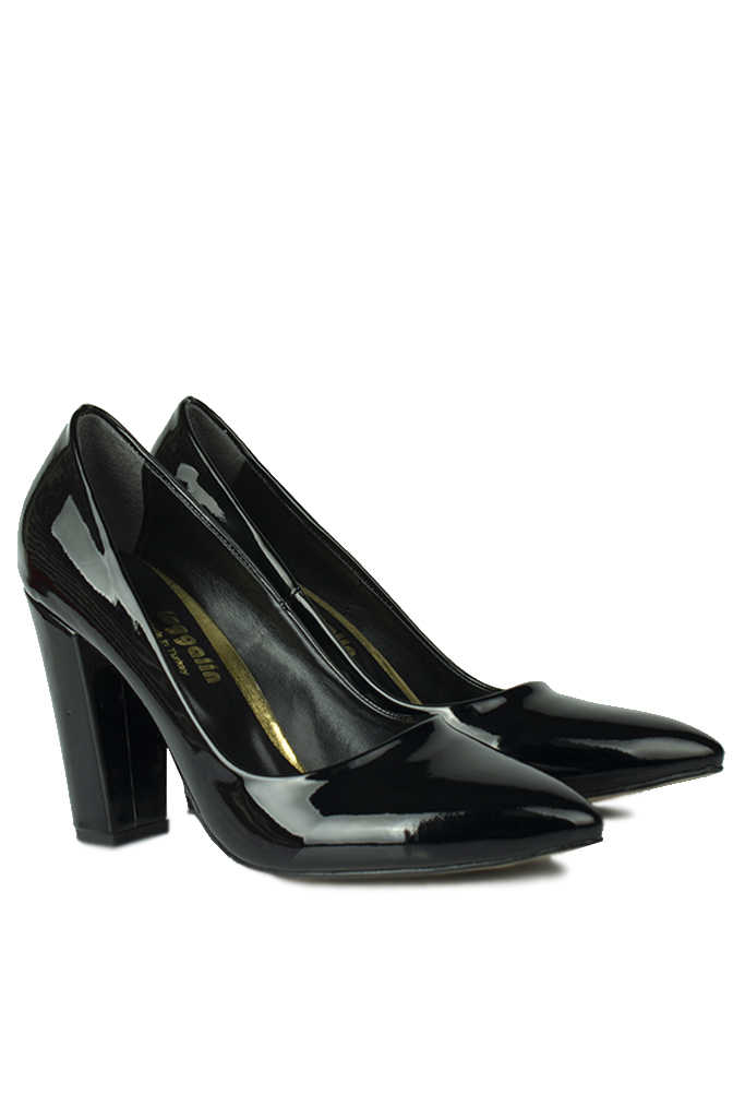 Fitbas 520121 020 Kadın Siyah Rugan Büyük & Küçük Numara Stiletto
