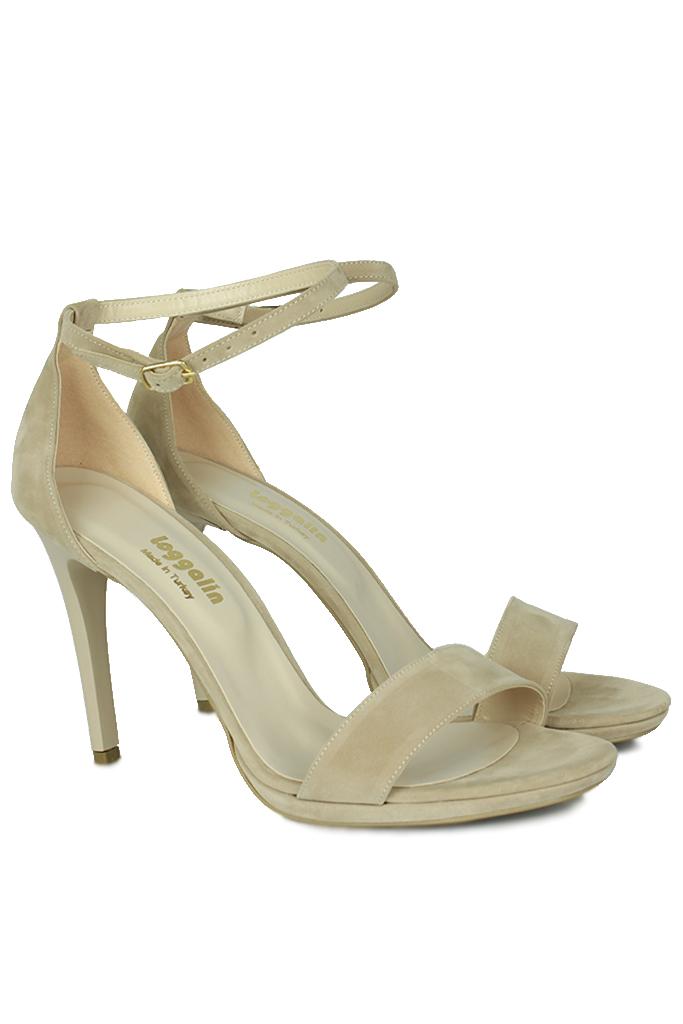 Fitbas 520333 327 Kadın Ten Süet Topuklu Platform Büyük & Küçük Numara Ayakkabı