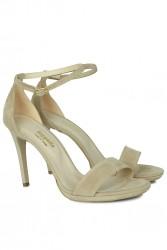 Fitbas 520333 327 Kadın Ten Süet Topuklu Platform Büyük & Küçük Numara Ayakkabı - Thumbnail