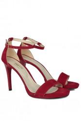 Fitbas 520333 527 Kadın Kırmızı Süet Topuklu Platform Büyük & Küçük Numara Ayakkabı - Thumbnail