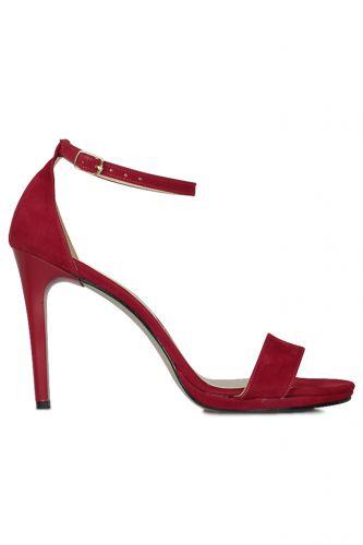 Loggalin 520333 527 Kadın Kırmızı Süet Topuklu Platform Ayakkabı