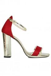 Fitbas 520338 527 Kadın Kırmızı Süet Topuklu Platform Büyük & Küçük Numara Ayakkabı - Thumbnail