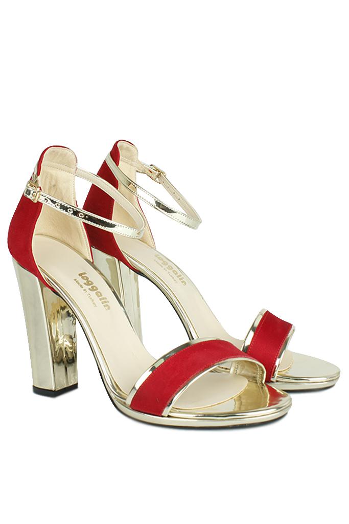 Fitbas 520338 527 Kadın Kırmızı Süet Topuklu Platform Büyük & Küçük Numara Ayakkabı