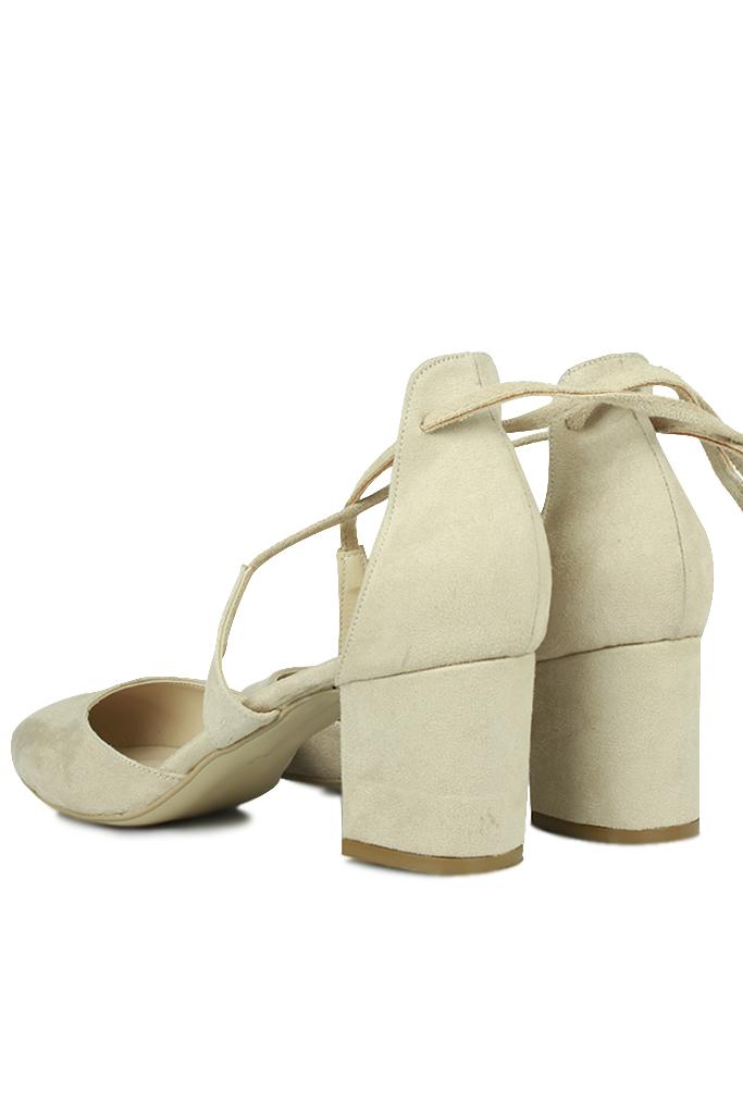 Loggalin 520130 327 Kadın Ten Süet Evening Ayakkabı