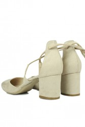 Loggalin 520130 327 Kadın Ten Süet Evening Ayakkabı - Thumbnail