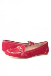 Loggalin 784367 558 Kadın Kırmızı Büyük & Küçük Numara Babet - Thumbnail