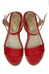Loggalin 785206 524 Kadın Kırmızı Büyük & Küçük Numara Sandalet - Thumbnail