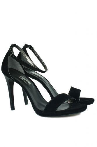 33 34 41 42 43 44 45 Küçük Büyük Numara Kadın Ayak - Loggalin 520333 008 Kadın Siyah Süet Topuklu Platform Ayakkabı (1)