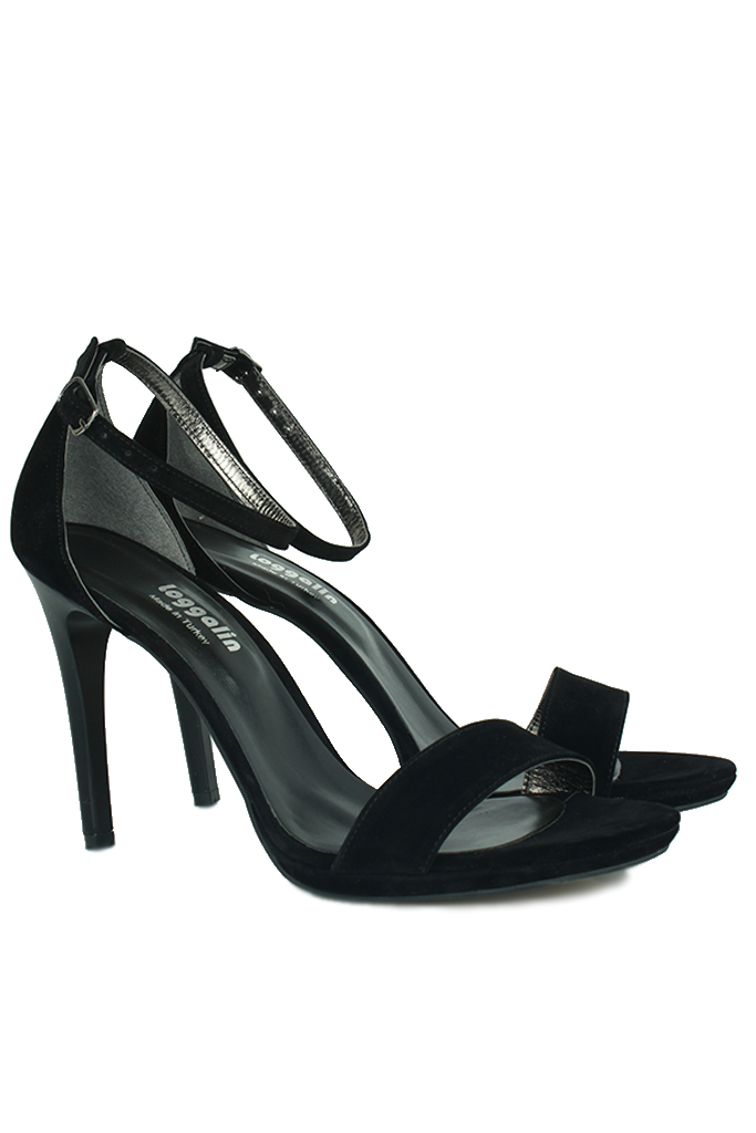 Fitbas 520333 008 Kadın Siyah Süet Topuklu Platform Büyük & Küçük Numara Ayakkabı