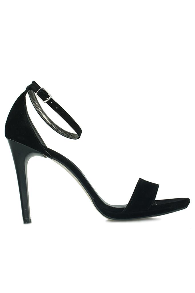 Loggalin 520333 008 Kadın Siyah Süet Topuklu Platform Ayakkabı