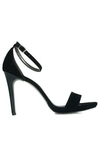 Loggalin 520333 008 Kadın Siyah Süet Topuklu Platform Büyük & Küçük Numara Ayakkabı