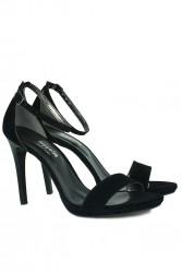 Loggalin 520333 008 Kadın Siyah Süet Topuklu Platform Büyük & Küçük Numara Ayakkabı - Thumbnail