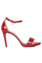 Loggalin 520333 520 Kadın Kırmızı Rugan Topuklu Platform Ayakkabı - Thumbnail