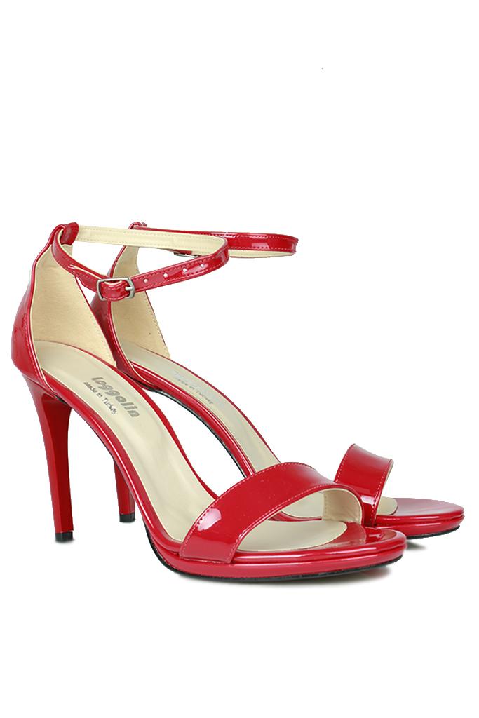 Loggalin 520333 520 Kadın Kırmızı Rugan Topuklu Platform Ayakkabı